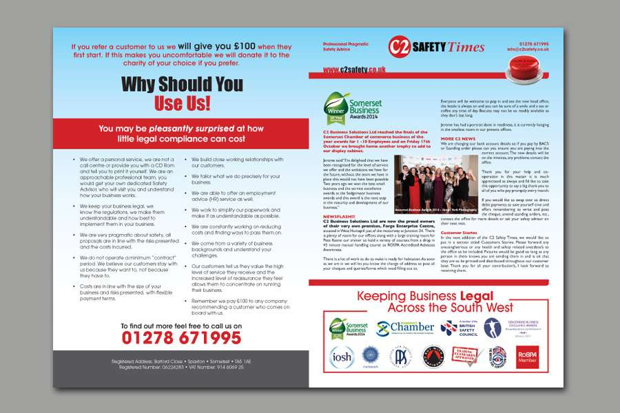 C2 Safety Quarterly Newsletter - Front Cover on the Right and Back Cover on the Left