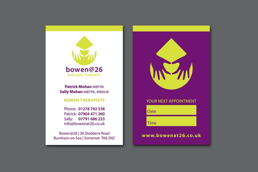 Business card design for Bowen Therapy business in Burnham-on-Sea, Somerset