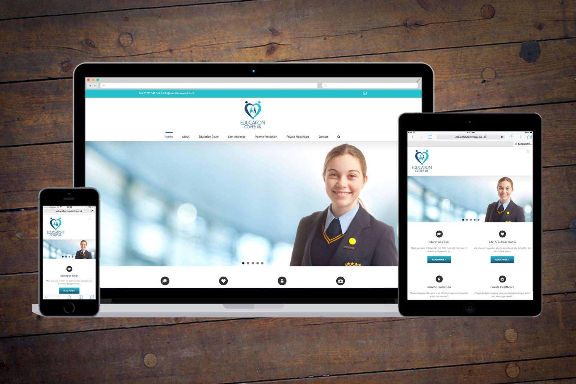 Website design for educational insurance company based in Clevedon, North Somerset