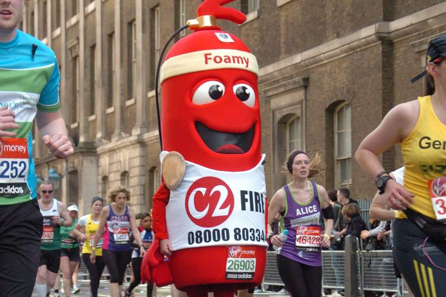Life Sized Fire Marshall Foamy Running a Marathon
