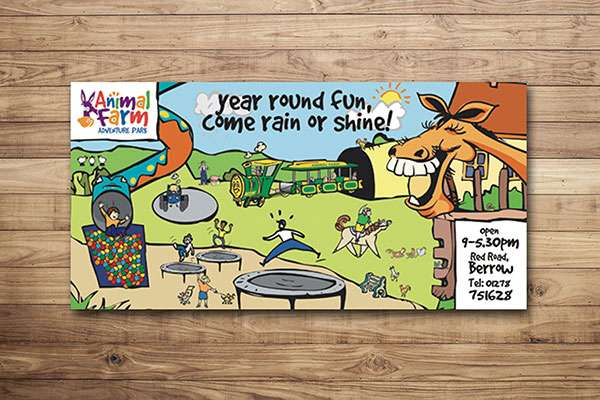 Illustrated banner design for adventure park in Berrow, Somerset