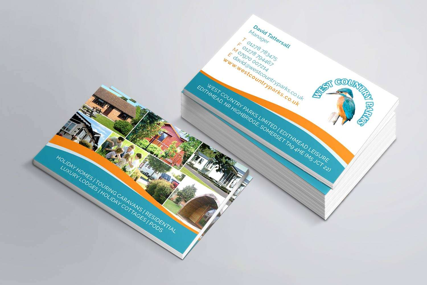 Business card design for holiday park in Somerset