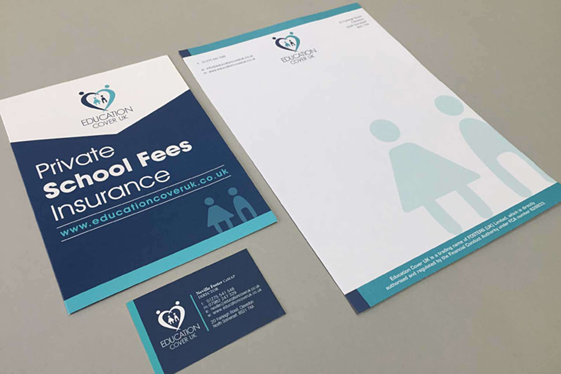 Stationery design for educational insurance company based in Clevedon, North Somerset