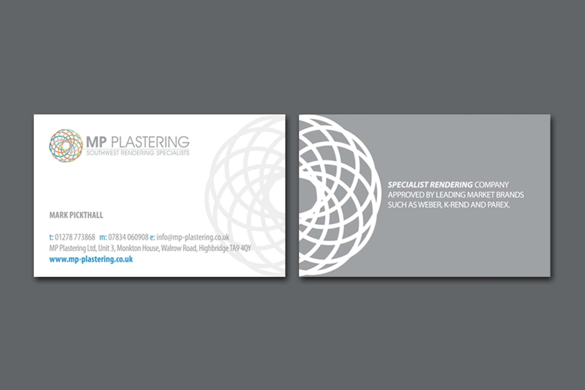 Business Card design for MP Plastering in Highbridge, Somerset
