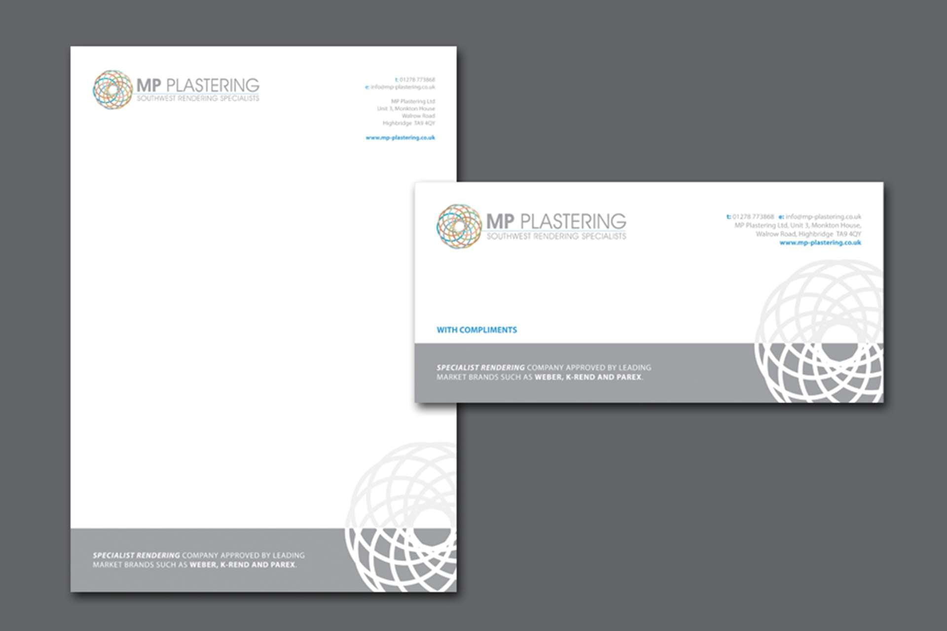 Stationery design for MP Plastering in Highbridge, Somerset