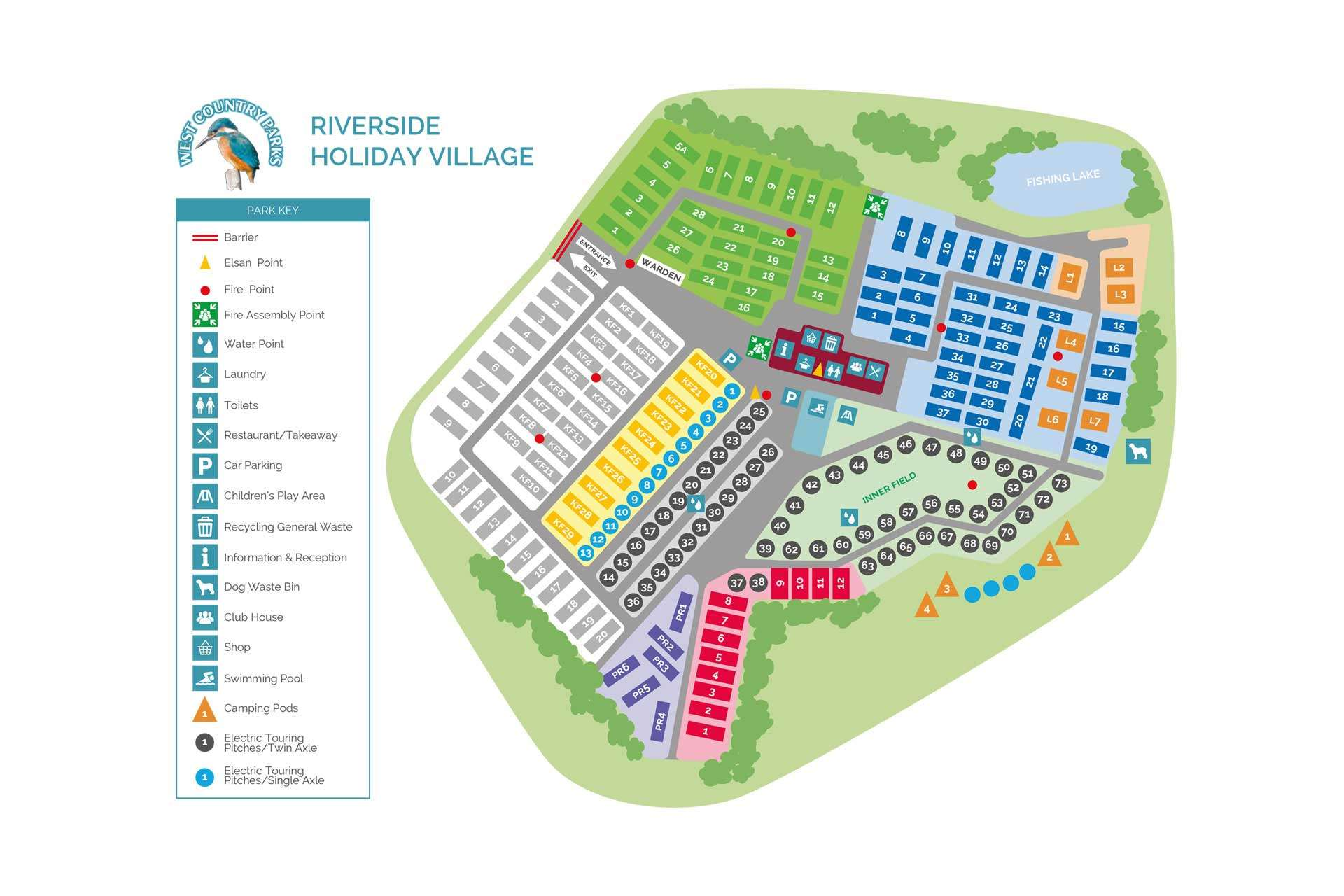 Illustrated holiday park map for West Country Parks in Somerset