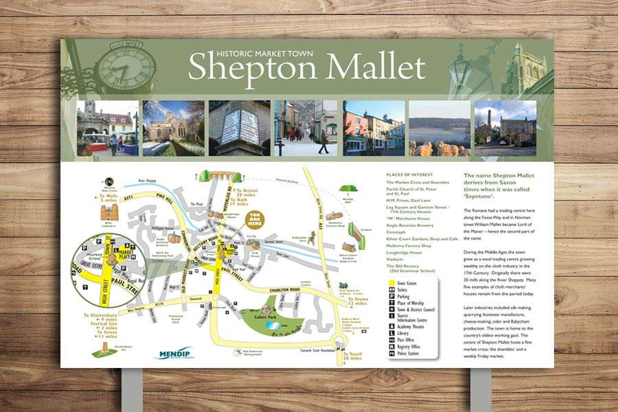 Countryside interpretation panel design for Shepton Mallet - Illustrated Town Map