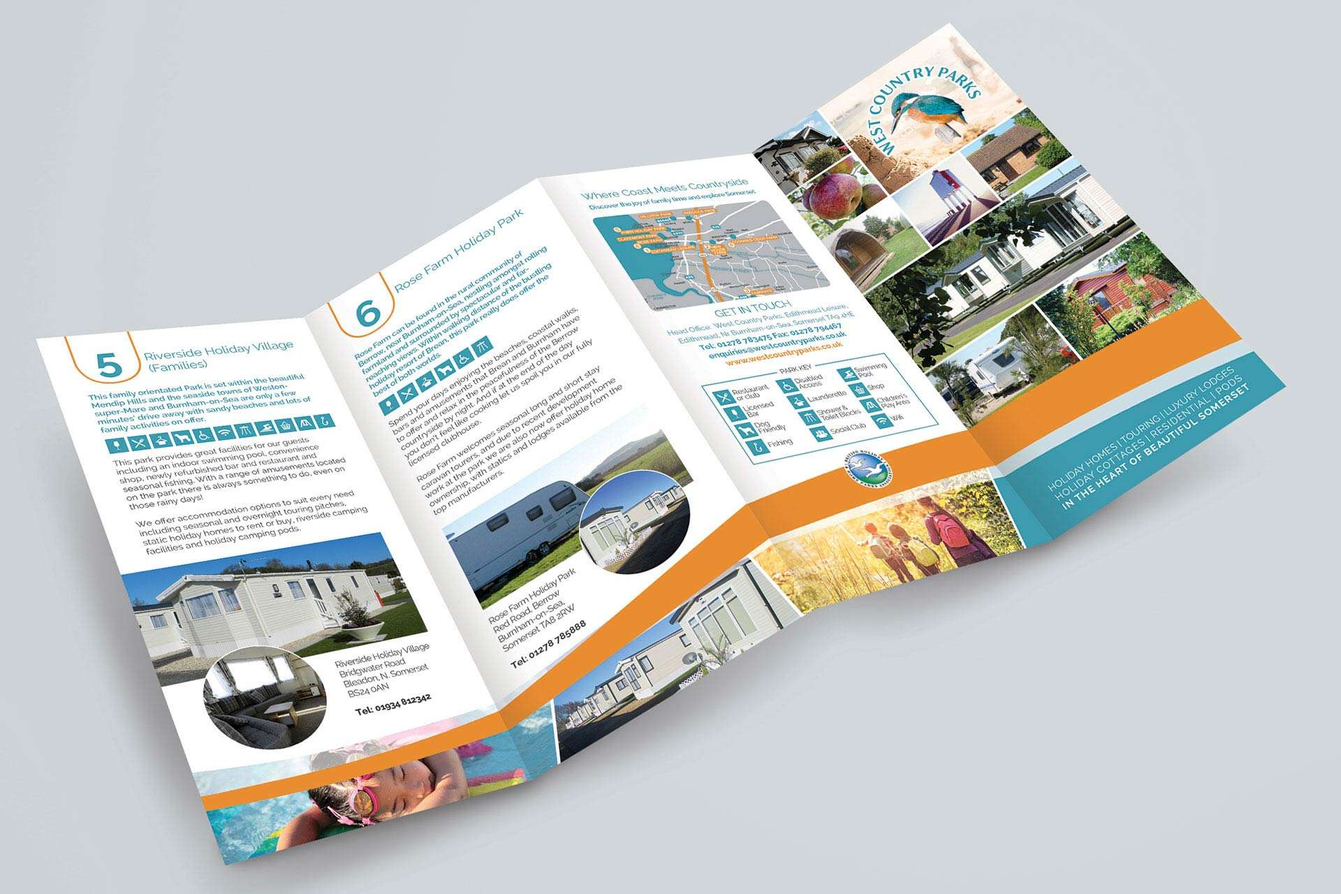 Folded Leaflet Design for Holiday Park in Somerset
