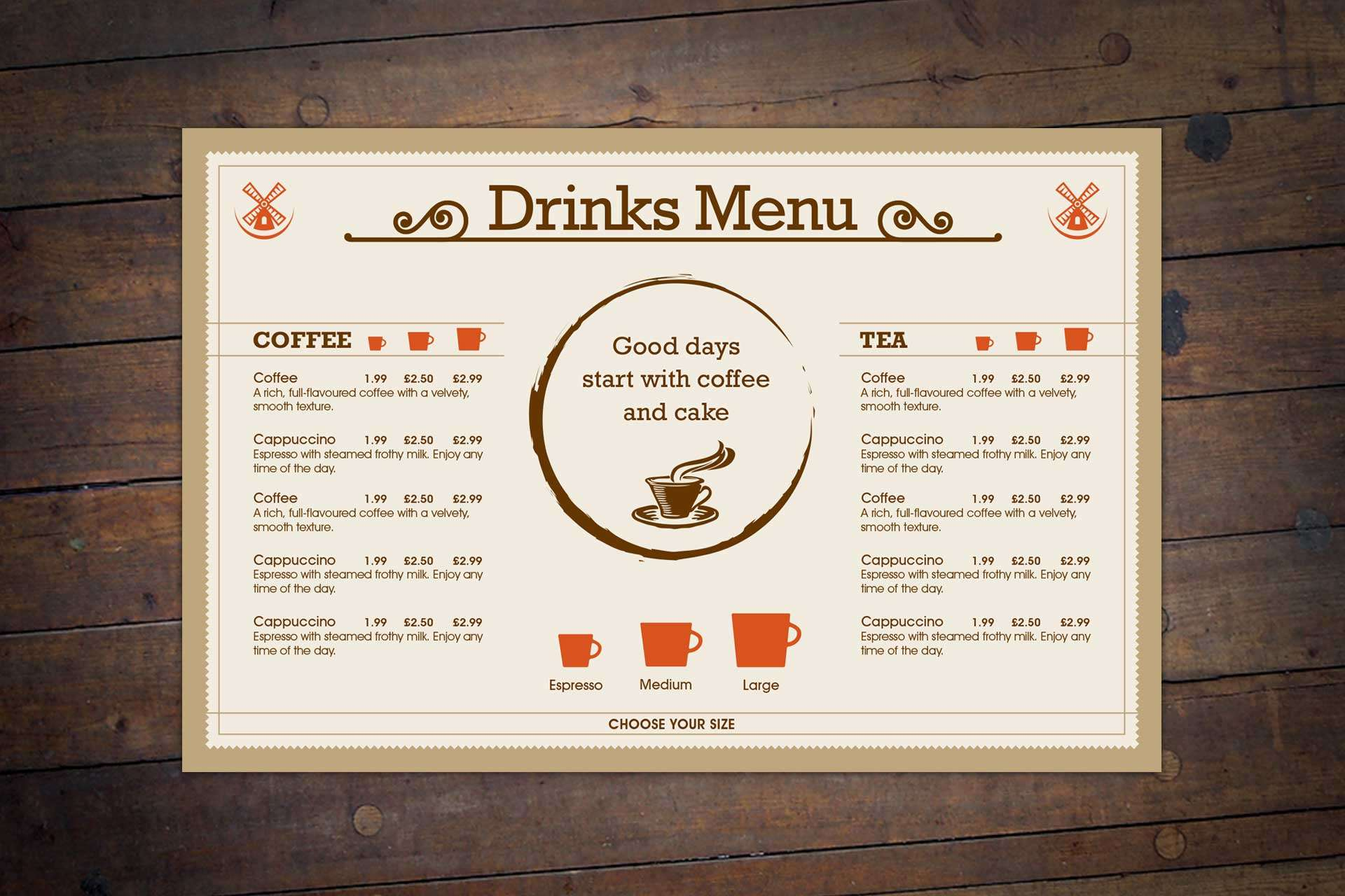 Drinks menu design for Windmill Bar & Bistro Restaurant, Burnham-on-Sea, Somerset