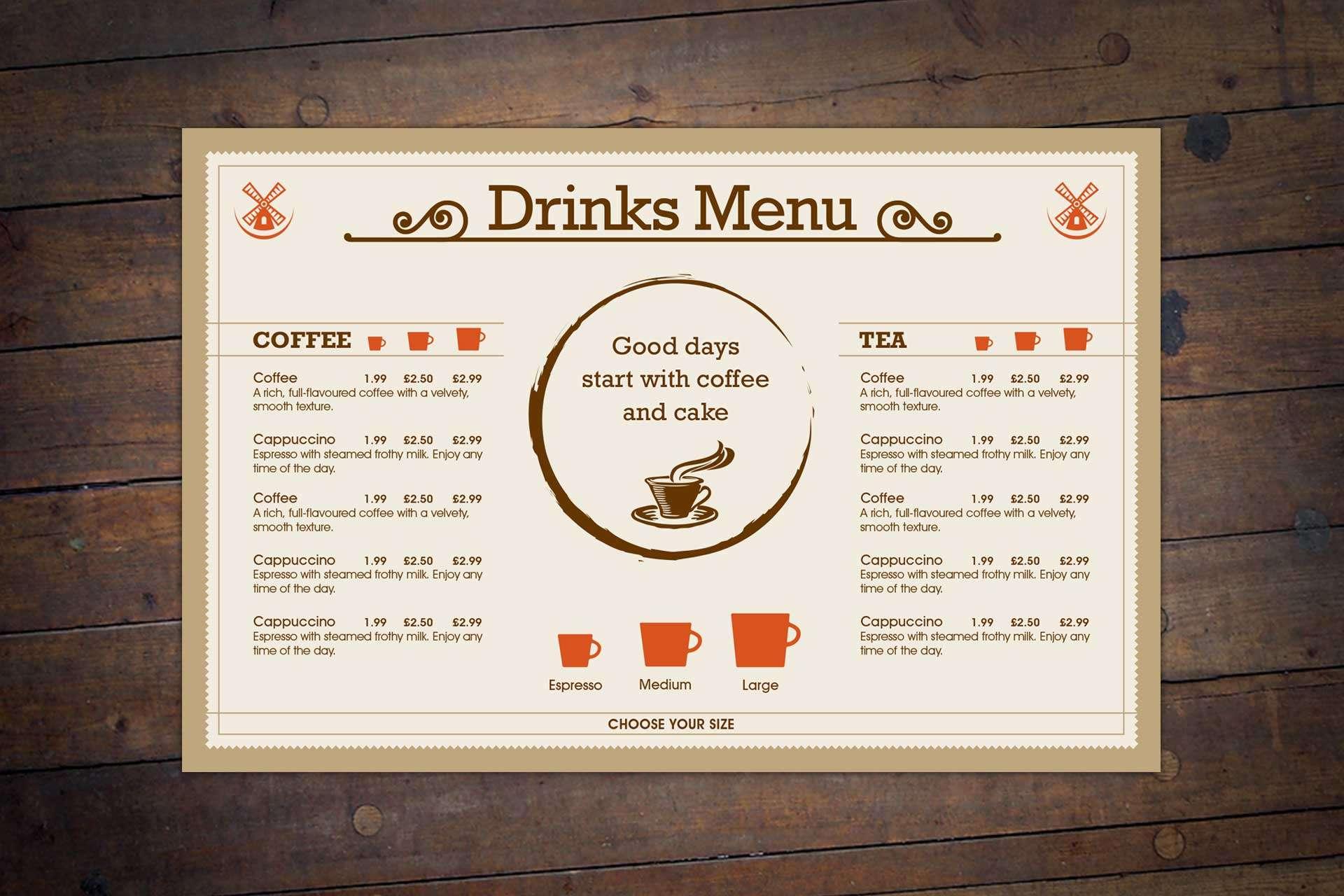 Drinks menu design for Windmill Bar & Bistro Restaurant, Burnham-on-Sea, Somerset