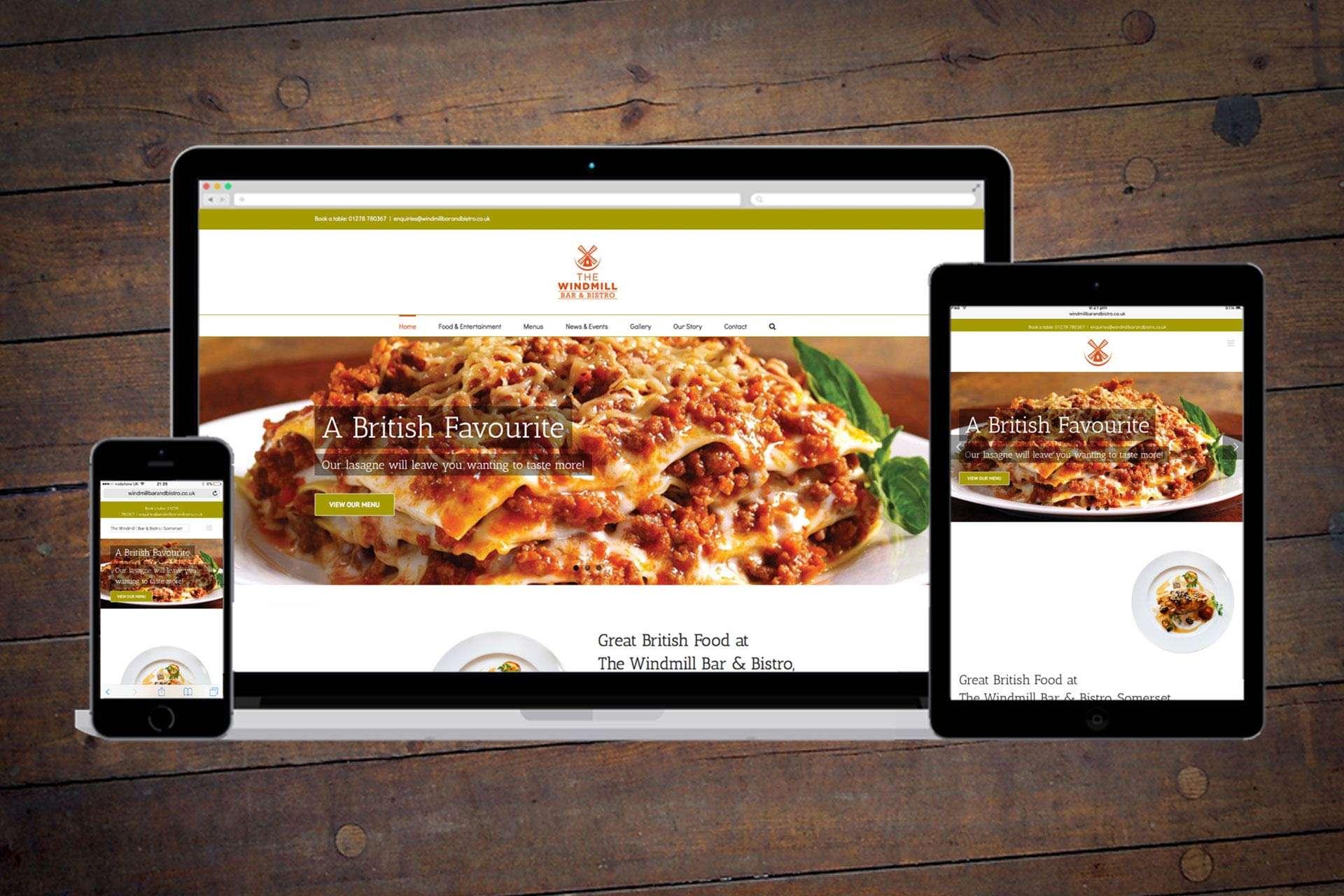 Windmill Bar & Bistro -Website design for Restaurant, Burnham-on-Sea, Somerset