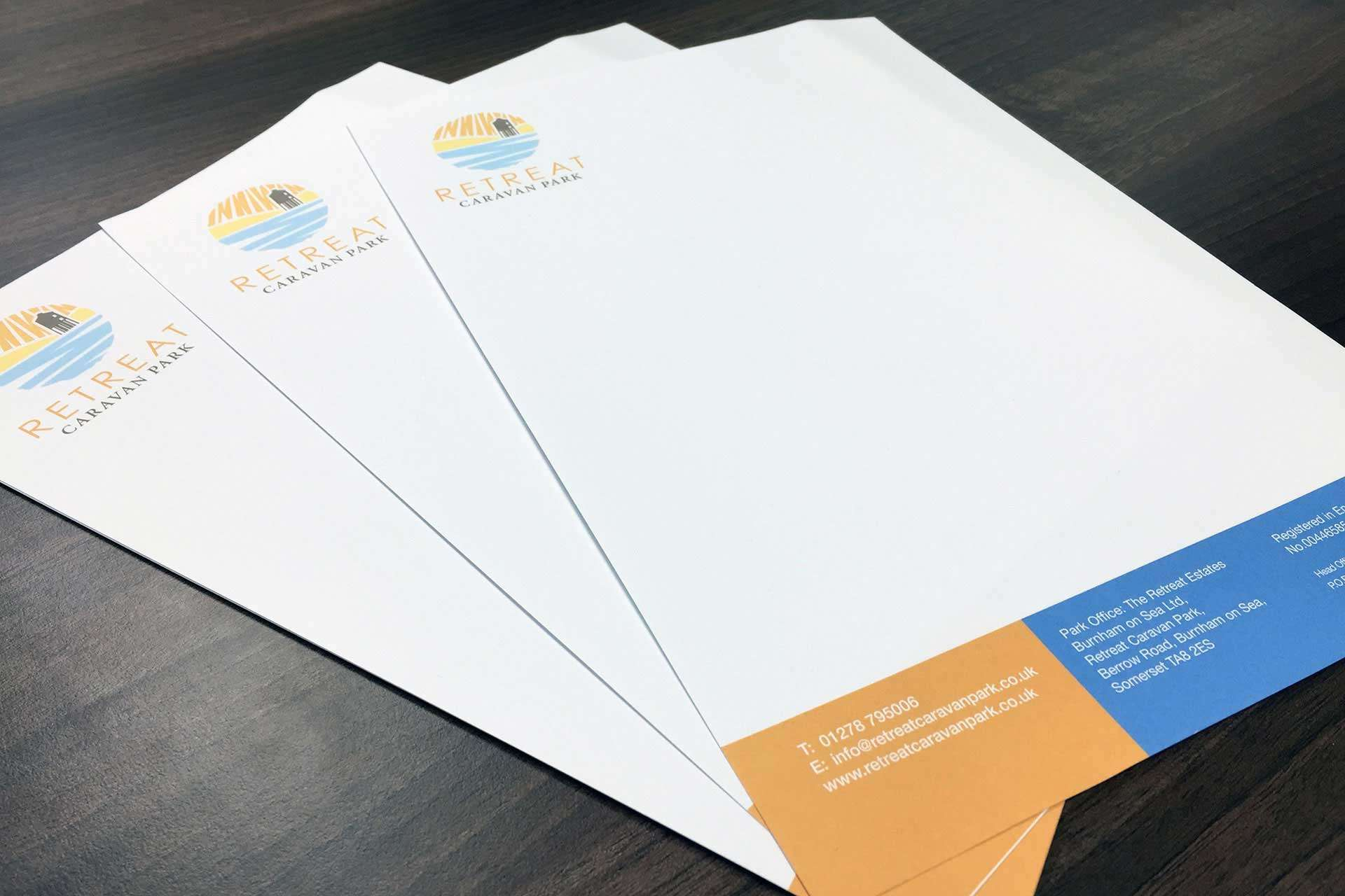 Business stationery design for caravan site in Somerset