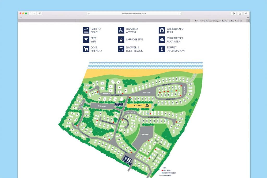 Retreat Caravan Park map illustration design, Burnham-on Sea, Somerset