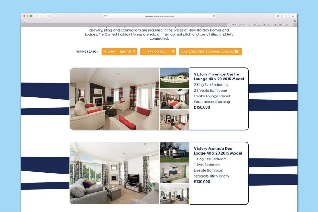 Retreat Caravan Park website design, Burnham-on Sea, Somerset