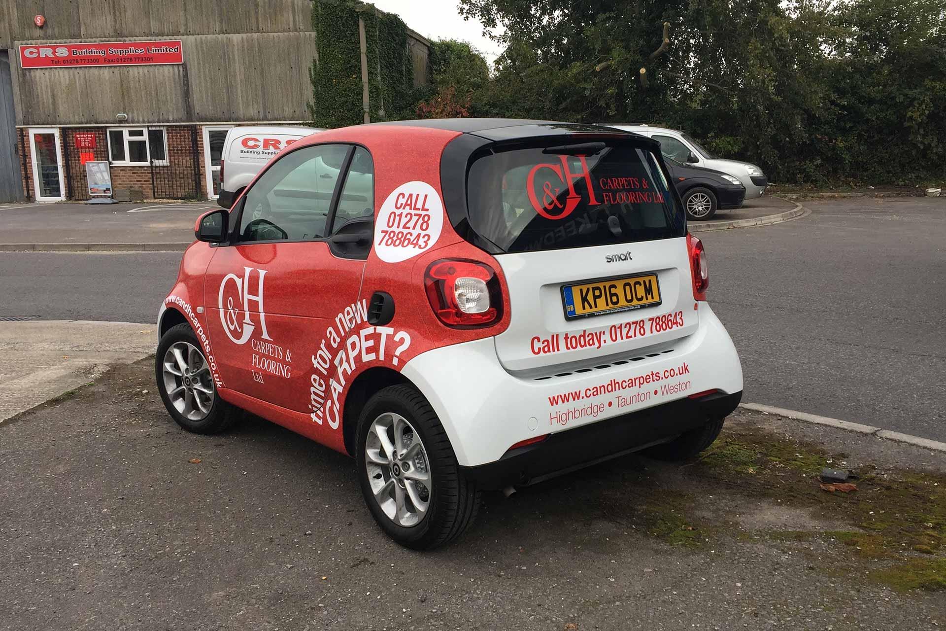 Vehicle wrap design for C&H Carpets, Highbridge, Somerset