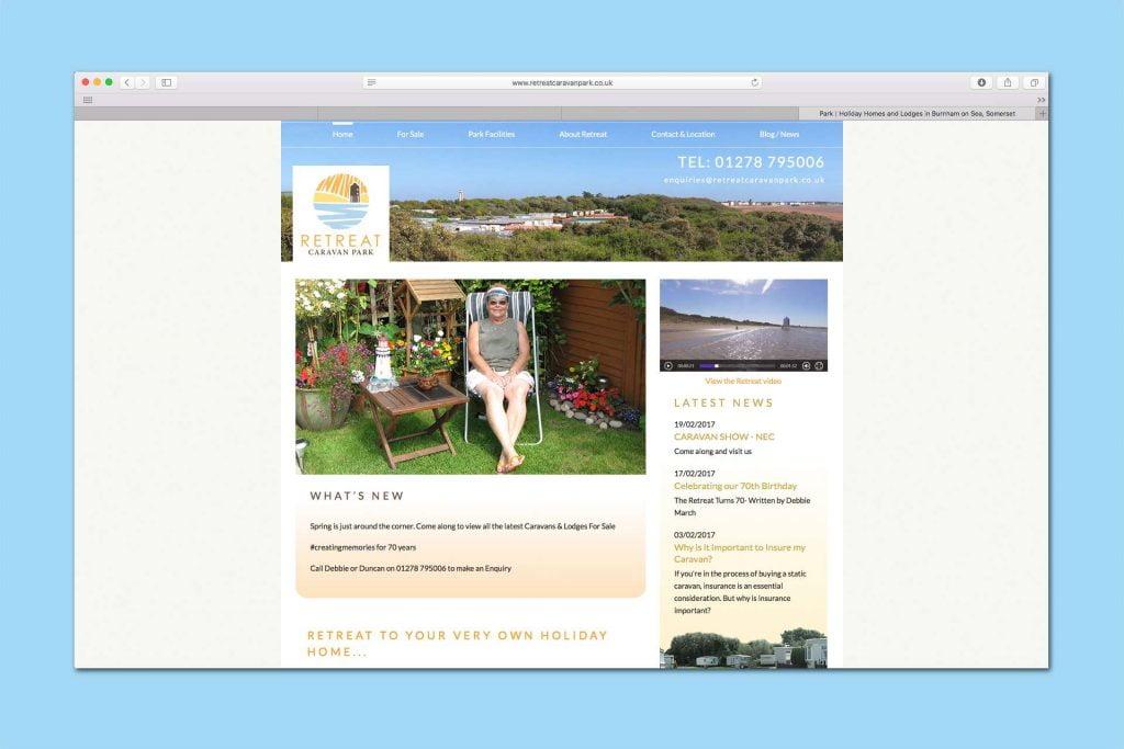 Old website for Retreat Caravan Park website design, Burnham-on Sea, Somerset