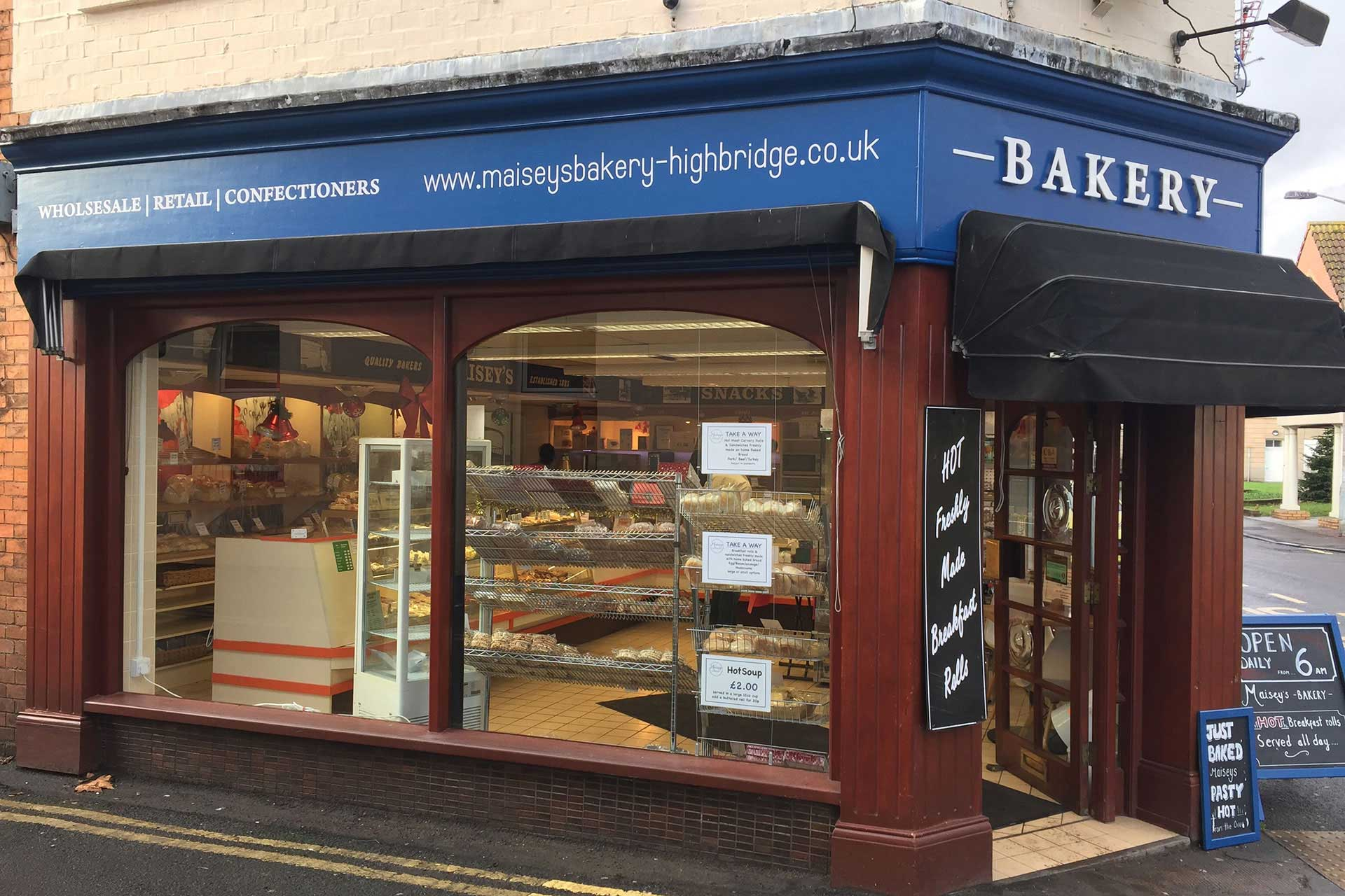 Maisey's Bakery shop signage design, Highbridge, Somerset