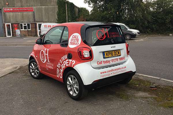 Vehicle livery wrap for C&H Carpets in Somerset