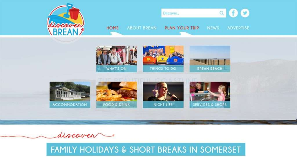 Discover Brean website menu design