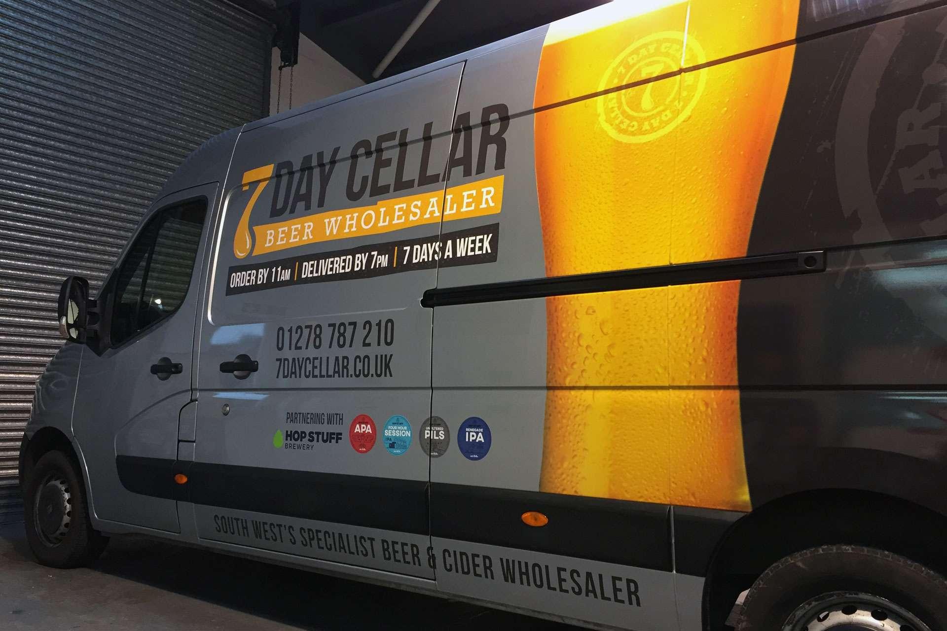 7 Day Cellar vehicle livery design, Highbridge, Somerset Branding