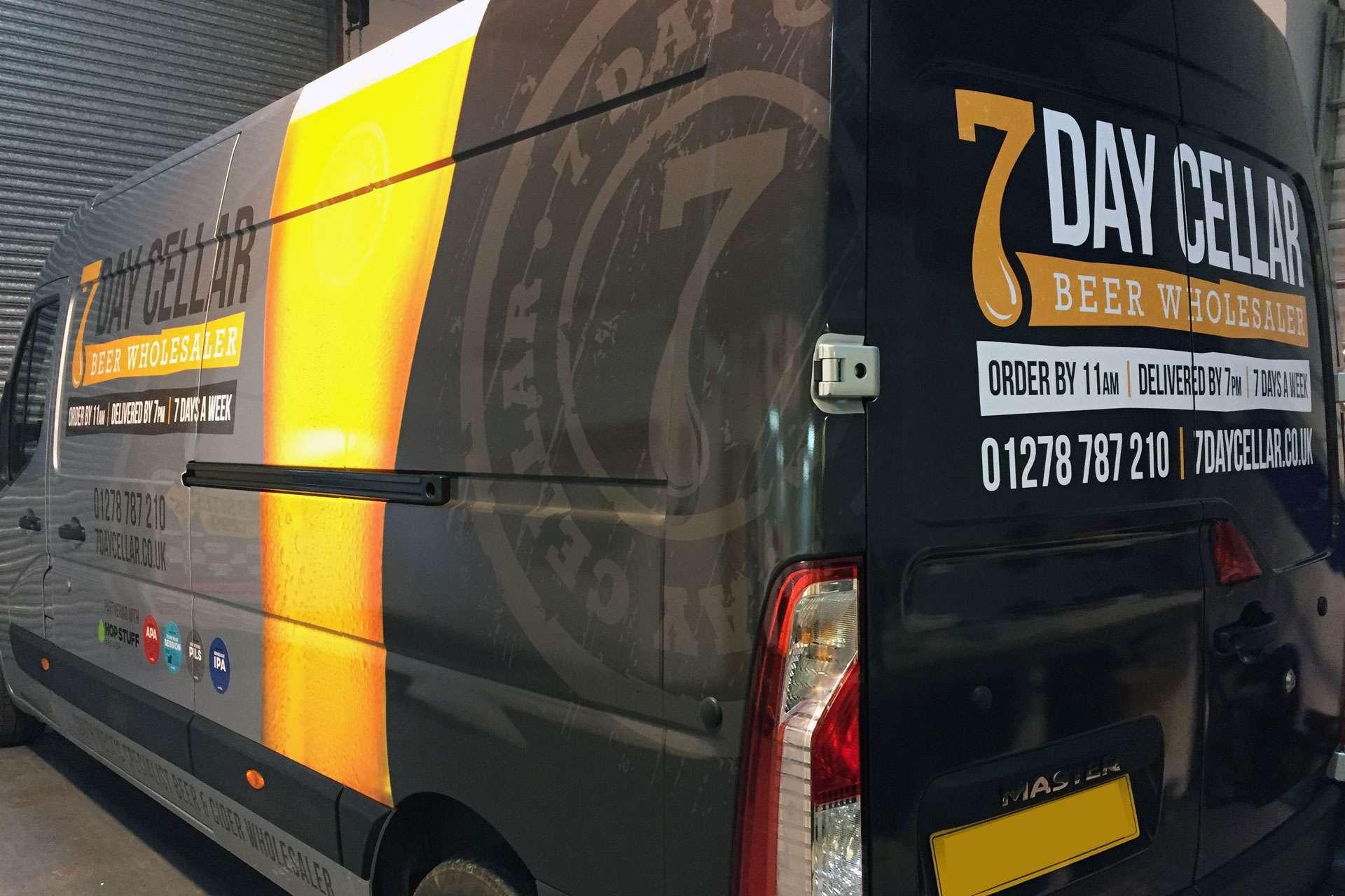 Branding 7 Day Cellar vehicle livery design, Highbridge, Somerset