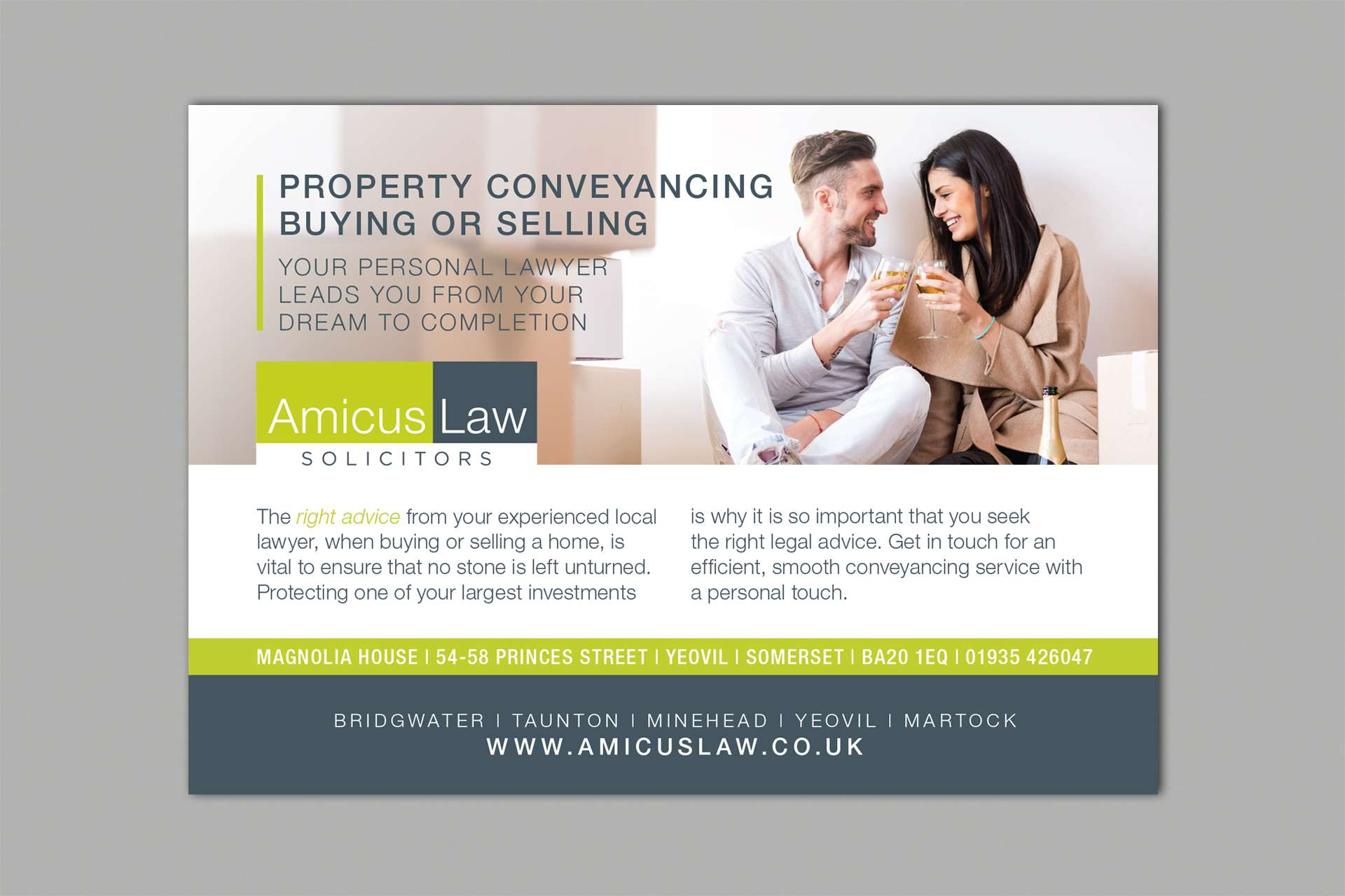 Amicus Law Solicitors Advert Design, Somerset