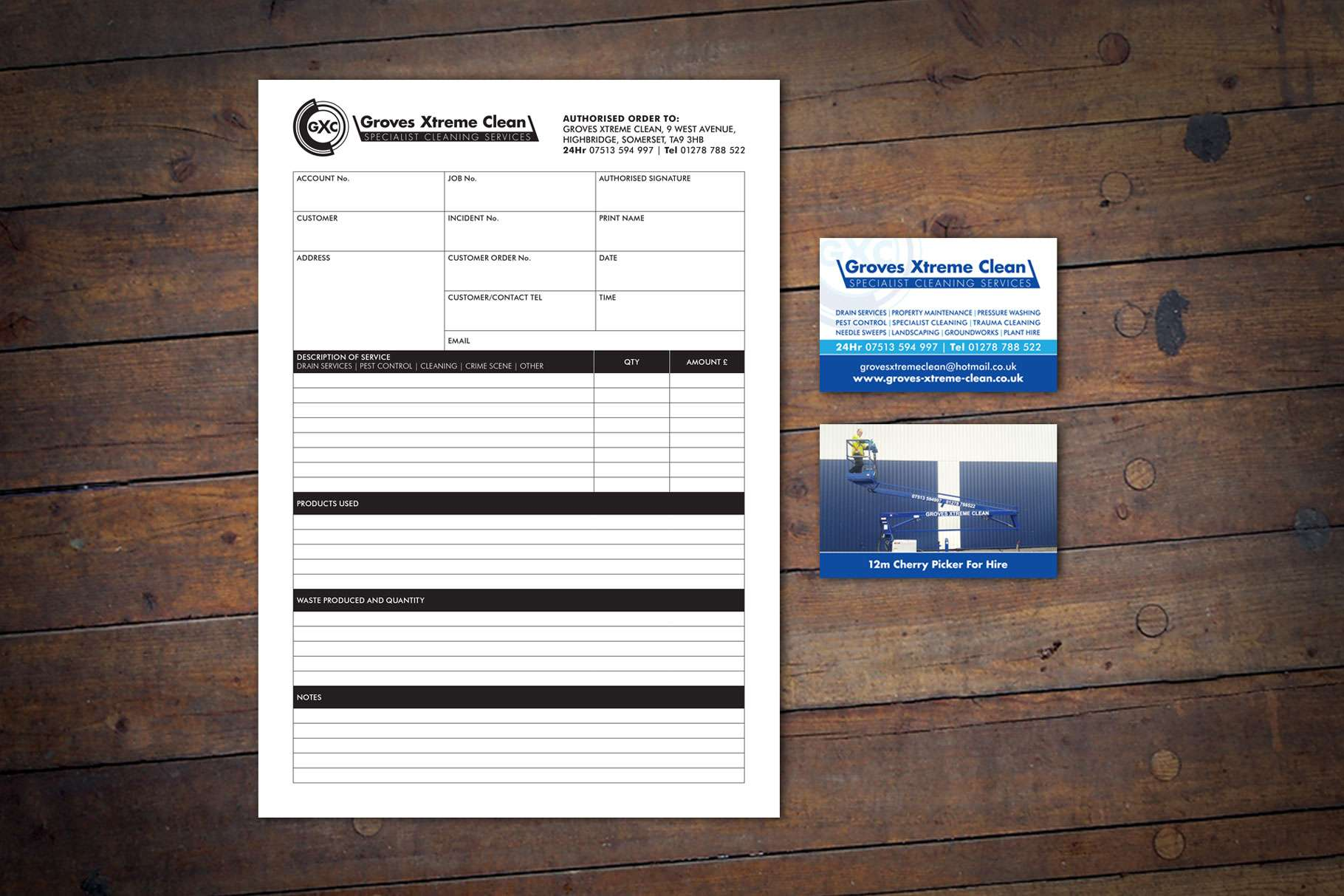 Cleaners NCR Job sheets Business card design somerset
