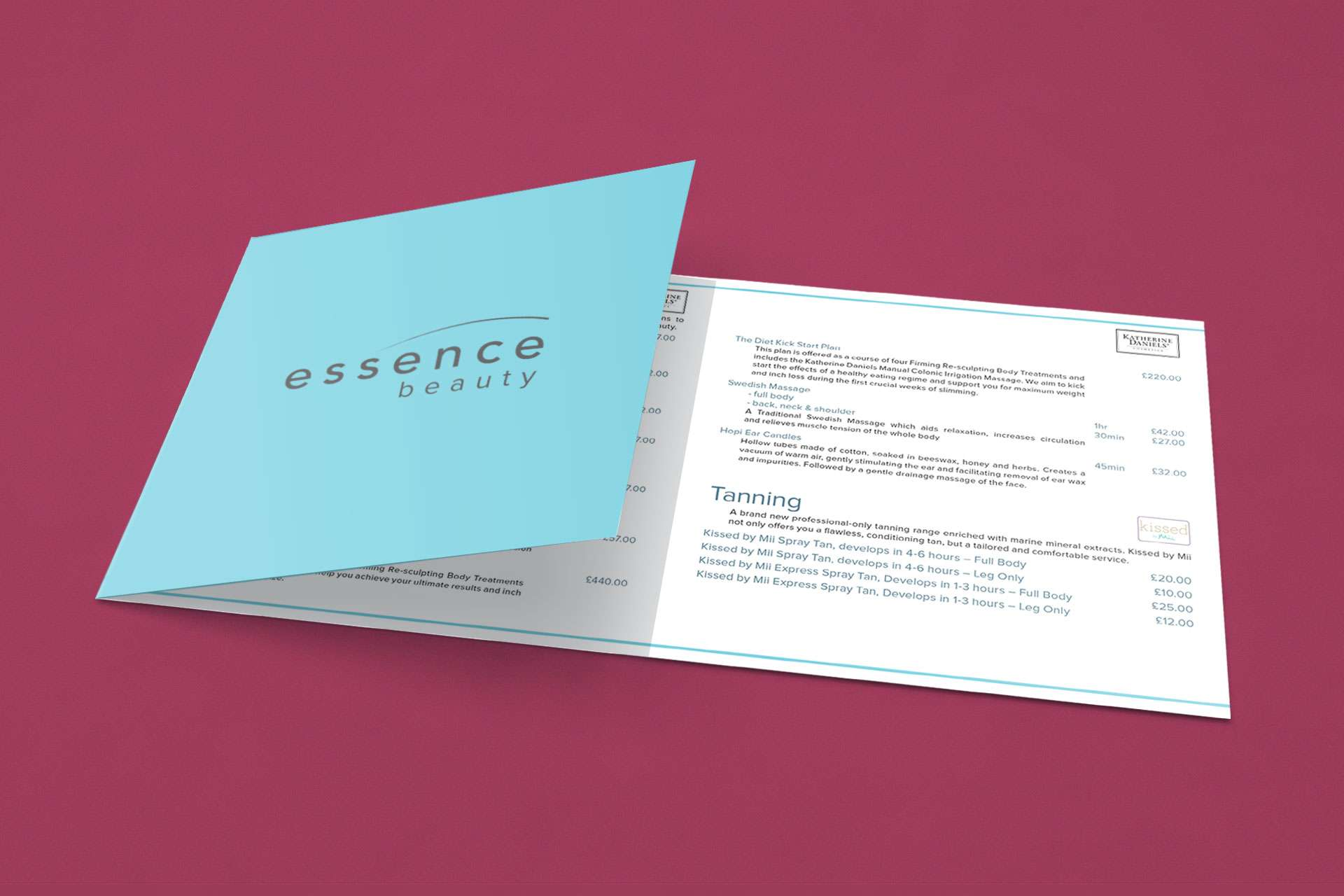 Essence Beauty Price List Design Wedmore