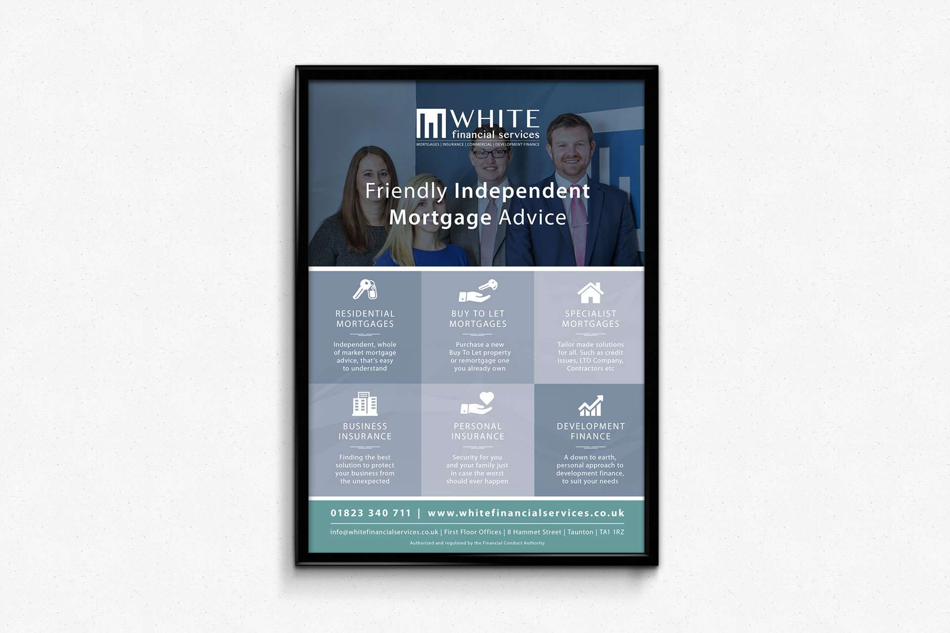 White Financial Business Services Poster Design Taunton Somerset