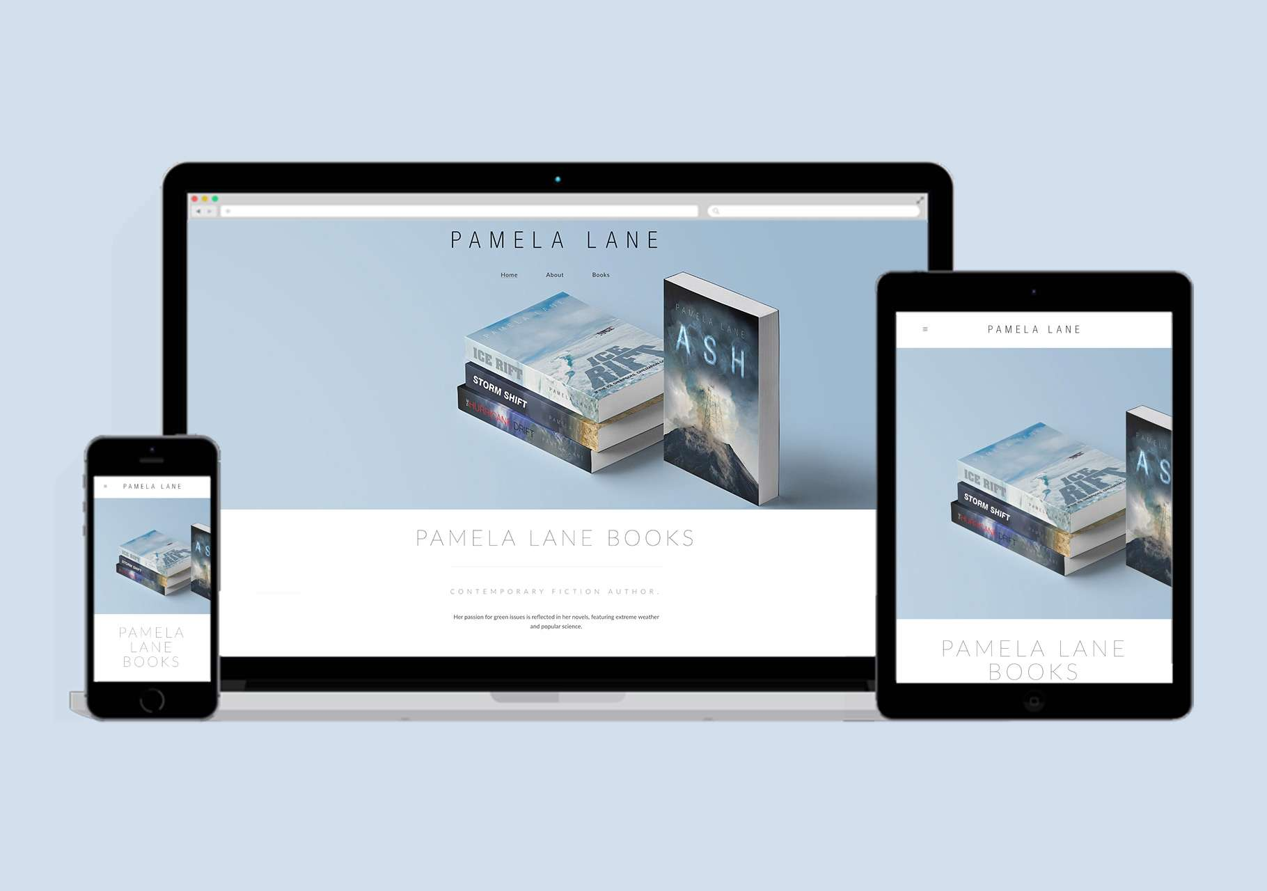 Author website design for Pamela Lane
