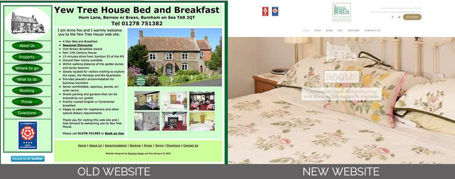 bed-breakfast-website-design-berrow-somerset Yew Tree House Bed and Breakfast | Website | Business Card Design