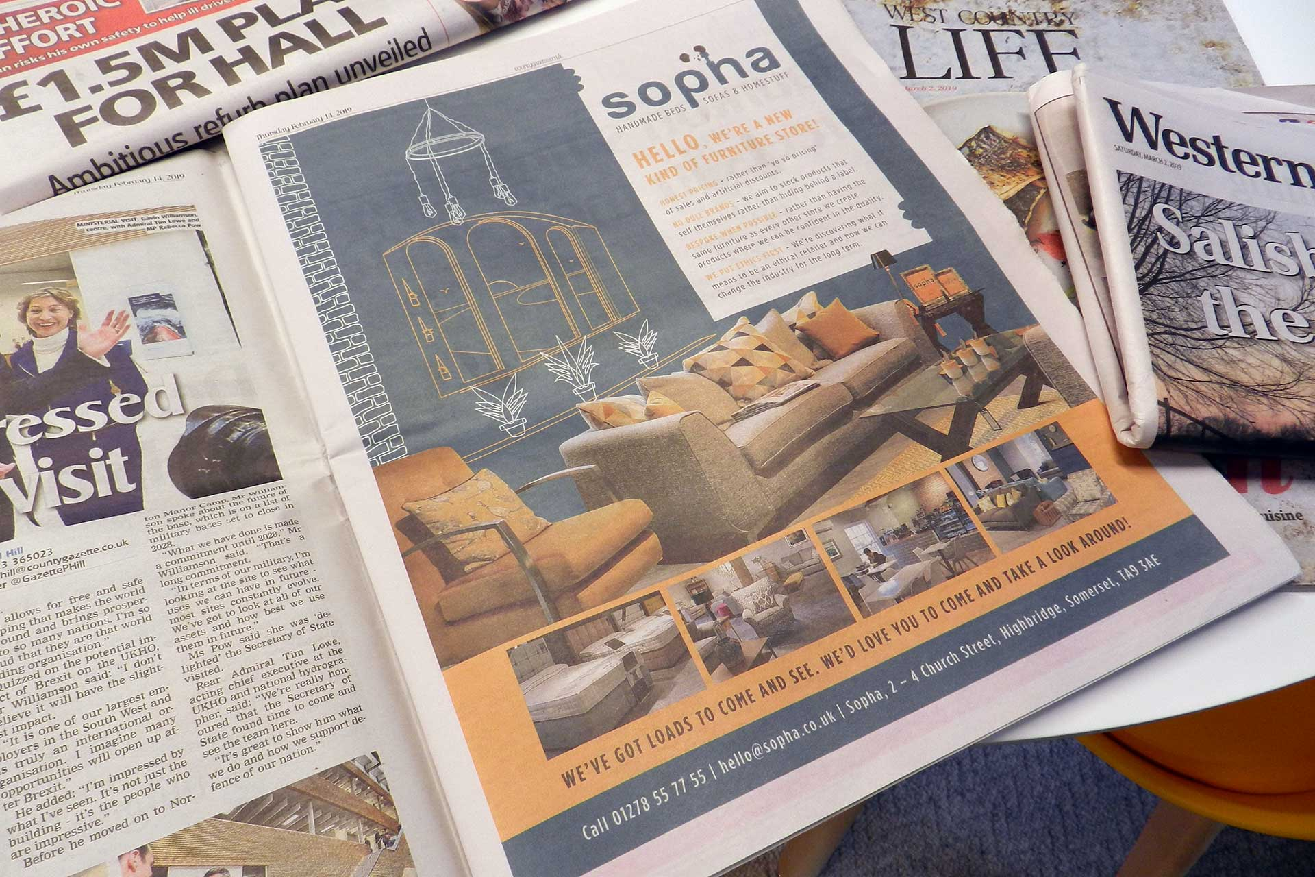 Sopha illustrative furniture newspaper advert, Somerset