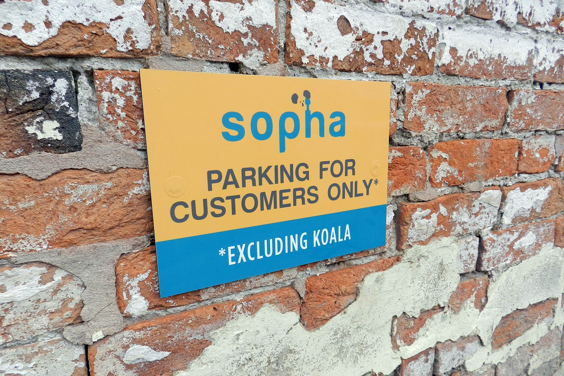 Sopha branded car park signage design, Highbridge, Somerset
