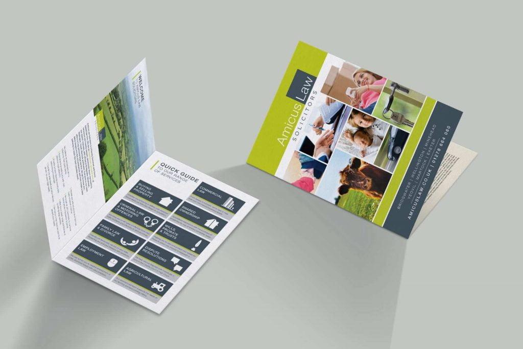 amicus law solicitors leaflet design bridgwater