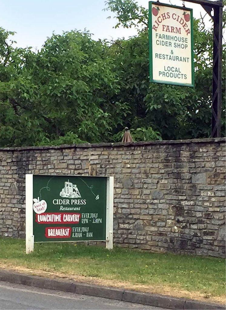 Richs Cider Farm Entrance Signage Highbridge Somerset